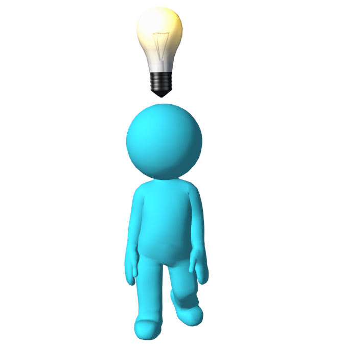 Morph character with lightbulb above his head
