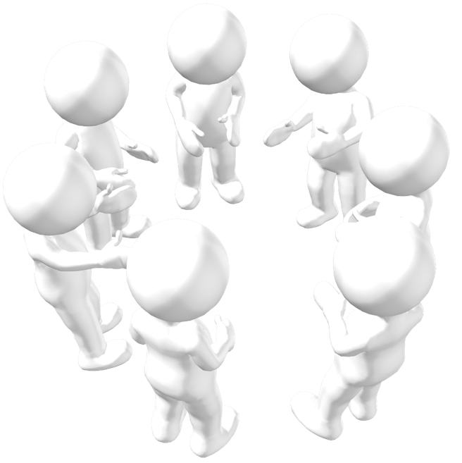 Group of morph men discussing a project in a circle